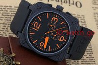 Wholesale Bells Mm - New Men's Automatic Mechanicl 6 Hand Stainless Steel Luxury Watch Bell Aviation Limited Edition Dive Black Rubber Silver Blue Watches