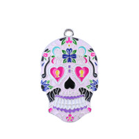 Wholesale Sugar Skull Charms - Enameled Sugar Skull Pendant,Alloy Enamel Day of the Dead Sugar Tattoo Skull Charm Pendant