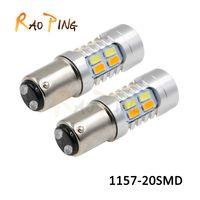 Wholesale 1157 Dual - Car Styling S25 1157 BAY15D 20SMD Car LED Bulbs Tail Brake Light 12V Dual Colors High Power 5730 LED Lamp DRL