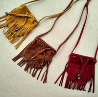 Wholesale Bohemian Purses - Kids tassel bags bohemian beach shoulder bags children backpack handbag girl boy lace-up satchel bag purse crossbody bag kid gift T0661