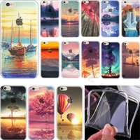 Wholesale Drawing Skin Iphone - For iphone 7 Colored Drawing Scenery Case Clear Soft TPU Gel Cases Mountain City Ocean Landscape Skin Cover for iphone 7 6 6S Plus 5 5S SE