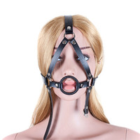 Wholesale Oral Gag Harness - PU Leather Open Mouth Ring Gag Head Harness Slave Fetish Oral Sex Products in Adult Game Bondage Restraint Sex Toys for Couples