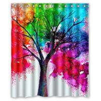 Wholesale 36 X 48 Art - Customs 36 48 60 66 72 80 (W) x 72 (H) Inch Shower Curtain Autumn Tree Art Colorful Rainbow Tree Polyester Fabric Shower Curtain