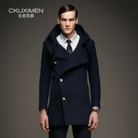 Wholesale Men Peas - Wholesale- 2016 autumn winter coats men hooded trench coat woolen jacket single breasted high quality british pea coat business overcoat