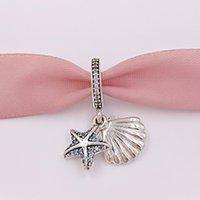deniz yıldızı 925 bilezik toptan satış-925 Gümüş Boncuklar Tropikal Denizyıldızı Deniz Kabuğu Kolye Charm Charms Avrupa Pandora Stil Takı Bilezikler Kolye Uyar 792076CZF