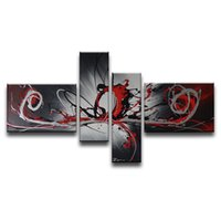Wholesale Original Handmade Landscape Oil Painting - 100%Hand-painted Original High Quality Home Decoration Handmade 4 pcs set Canvas Gray Wall Abstract Oil Painting Gift