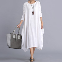 Wholesale New Maxi Dresses - New Womens Ladies Casual Long Sleeve Loose Cotton Linen Maxi Long Dress Kaftan 2 Colors 4 Size