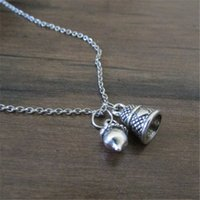 Wholesale Thimble Wholesale - 12pcs lot Peter and Wendy Acorn and Thimble Charm Necklace Jewelry, Peter Pan Inspired Jewelry