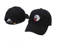 Wholesale Bad Snapback - New 2017 distressed Boo Mario Ghost black cowboy bad hiss Mario Ghost dad hat hip-hop bone gorras baseball caps snapback hats for men women