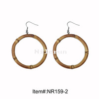 Wholesale Stainless Steel Made China - hand made round circle ring natural bamboo root earrings
