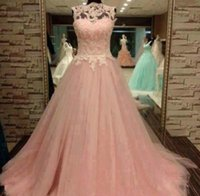 Wholesale Tops Pearl Necklines - Fabulous Quinceanera Dresses 2016 Vintage Prom Dress Long Formal Evening Party Wear Tulle Skirt Lace Appliques Sexy Top Illusion Neckline