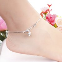 Wholesale Solid Silver Jewelry Factory Prices - Hot Sale High Quality Plated Silver Anklets Fashion Jewelry Solid Heart Pendant Anklet Bracelet Factory Price Trendy Jewelry MDA002
