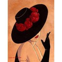 güzel soyut yağlı boya tabloları toptan satış-El boyalı soyut sanat Lady siyah kırmızı şapkalı Güzel kadın yağlıboya Ev dekor için