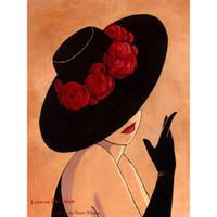 pinturas abstratas senhora venda por atacado-Pintados à mão arte abstrata Senhora de chapéu vermelho preto Pinturas a óleo mulher bonita de decoração Home