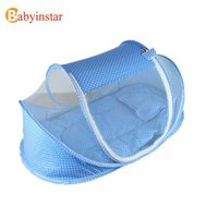 Wholesale Foldable Canopy Tent - Wholesale-2016 New Foldable Portable Baby Infant Bed Canopy Blue Pink Mosquito Net with a Quilt Cotton-padded Mattress Pillow Tent