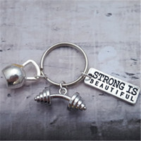 Wholesale Keyring Beautiful - 12pcs lot Gym Keyring Fitness Keychain Charms Gym Accessory, Dumbell Keyring Strong Is Beautiful Kettlebell Keyring