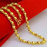 collar de cadena de oro amarillo al por mayor-Puro 999 Cadenas de cuentas de cadena de cuentas de oro Diseño de la boda Moire mejores hombres mujeres 24k Collar chapado en oro amarillo Latón Salvaje