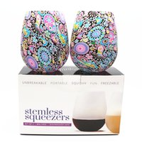 Wholesale Wine Glass Packaging - Silicone Wine Glasses 2 Pieces set Water Bottle Cups Camouflage Beer Whiskey Glass Drinkware Mugs Stemless Unbreakable with Box Package