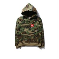 Wholesale High Neck Hooded Sweatshirts - 2017 Europe American High Quality Red Camo camouflage Green Hoody Box Logo Fashion Men Women Casual Sweatshirt Streetwear Hooded Hoodie