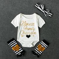 Wholesale Love Heart Girl Legging - Baby girls letters print romper 4pcs set striped headband+newest family obsessions metallic print romper+loving heart leg warmer ins hot