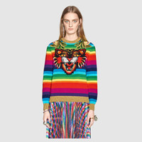 Wholesale Rainbow Stripe Sweater - Autumn Women Brand Design Sweaters 2017 Fall Winter Embroidery Flowers Tiger Head Jacquard Rainbow Stripe Pullovers Casual Knitted Outwear