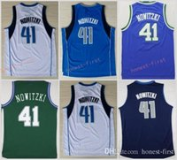 Wholesale White Fans - Men 41 Dirk Nowitzki Basketball Jerseys Wholesale Throwback Dirk Nowitzki Jersey For Sport Fans Green Blue White Embroidery Good Quality