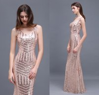 Wholesale red rose cocktail dress - 2018 Special Design Rose Gold Sequins Evening Dresses V Neck Floor Length Mermaid Prom Gowns Designer Occasion Party Gowns CPS371