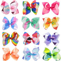 Wholesale Xmas Gift For Baby Girls - JOJO Rainbow Hair Bows Clip Korean Cheer Bows Grosgrain Boutique Gradient Baby Children Hair Accessories for Girl Fashion Xmas Gifts