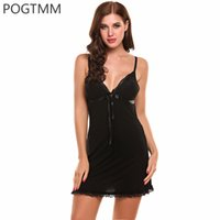 Wholesale Nightgown Women Sex - Summer Nightgown Lace Gown Full Slip Night Babydoll Chemise Women Lounge Dress Sexy Lingerie Hot Erotic Sex Costume Clothing Red