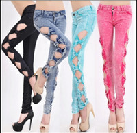 Wholesale Girls Leggings Zipper - 2017 Trendy Fashion Sexy Women's Side Bowknot Hollow Cutout Hole Jeans Wash Denim Pants Slim Ladies Trousers Girls leggings