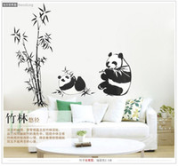 Wholesale Chinese Bamboo Glasses - New Black large size 100*90CM Panda Bamboo Wall Stickers Living Room TV Wall Sofa Removable Home Sticker Wall Sticker Art
