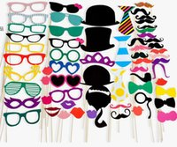 Wholesale Mustache Toys - Hot 58pcs set Sets Creative Parties Wedding Mustache Funny Photos Props Play House Toy Gift