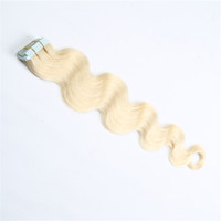 Wholesale Hair Extension Tape 613 - Tape hair extensions human pu weft tape in human hair extensions #613 Bleach Blonde Brazilian Body Wave Hair 16-26 inch
