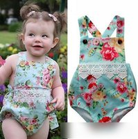Wholesale Lace Rompers For Toddlers Wholesale - Hot Sell Girls Rompers Floral Romper Flowers Printed Toddler Lace Bodysuit Sleeveless Suspender Rompers For Babies Girl Blue A6998