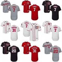 Wholesale National Customs - Men's 2017 New Season Washington Nationals Custom Jersey 7 Trea Turner 20 Daniel Murphy 31 Max Scherzer Flex Base Baseball Jerseys S-3XL