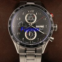 Wholesale Transparent Watches Men - Luxury Brand Tag Automatic Watch Calibre 16 44mm Men Black Dial Transparent Back Stainless Band Montre Homme AAA model