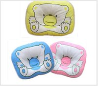 2017 Hot Sale Cotton Baby Pillow Literie pour bébé Imprimer Bear Oval Shape Cartoon Shaping Little Foam Neck Support Prévenir le syndrome de tête plate