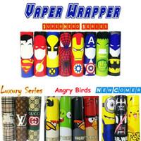 Wholesale E Cigarette Battery Cover - 18 Styles 18650 E cigarette Battery PVC Skin Sticker Vaper Wrapper Cover Sleeve Shrinkable Wrap Heat Shrink VTC5 VTC4 LG HG2 Cover Stickers