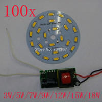 Atacado- DHL / FEDEX grátis 100sets / lot driver driver + 3W 5W 7W 9W 12W 15W 18W 5730 LED chip light, placa de luz para lâmpada LED
