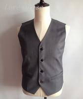 Wholesale Cheap Tuxedos Wholesale - Wholesale- Cheap Gray Unique Design Vest Man Suits Four Button Groomsman Tuxedos Men Wedding Vest