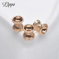 Wholesale Lotus Bead Caps Wholesale - 15pcs 7.2mm*7.3mm Double Lotus bugle Gold plated bead caps receptacle Beads Spacer Beading DIY Fittings jewelry Accessories