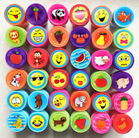 Wholesale Rubber Stamps Sets For Kids - Wholesale- 100% good quality Smile Animal flowers fruit cartoon self inking stamp set gift for kids scrapbooking DIY decoration