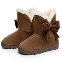 Wholesale wholesale woman boots - Wholesale- Women Boots Bowtie Winter Ankle Boots Warm Winter Shoes 2016 Fashion Snow Boots Women Shoes Black