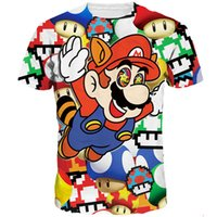 Wholesale Mario Pictures - Super Mario T shirt Pipe fitter ventilate short sleeve Classic game tees Cool picture clothing Unisex cotton Tshirt