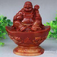 Wholesale Exquisite Stone - UNIQUE Exquisite natural shoushan stone CARVED money Buddha STATUE