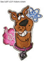 Wholesale Wholesale Scooby Doo - Head Shot Scooby Doo 2 Flowers Pink & Blue TV Movie Film Costume Embroidered sew on iron on patch TRANSFER APPLIQUE Gift Favor