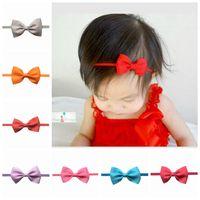 Wholesale Mini Tiara Headband - Wholesale- 2016 baby girl kids hair bands flower mini satin ribbon bow newborn headband hair accessories headwrap hairband tiara 2.5inch