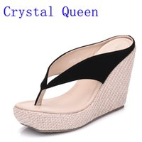 7c2f5925c3 Crystal Queen Casual Fashion Sandals Shoes Beach Women Sandals Bohemia Wedges  Flip Flops Lady Slippers Women Summer Style Shoes