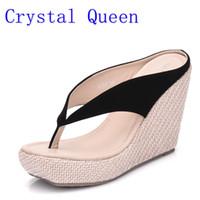 Sandali di moda casual di cristallo regina scarpe sandali da donna spiaggia  cunei ciabatte infradito signora pantofole donne scarpe stile estivo bcdf4eb2130