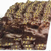 insan saçı brazilian örgü kahverengi toptan satış-Toptan Oulet fiyat 9 adet / grup renk # 2 Kahverengi Renk işlenmiş Brezilyalı İnsan Saç Örgüleri Vücut Dalga kupon anlaşma